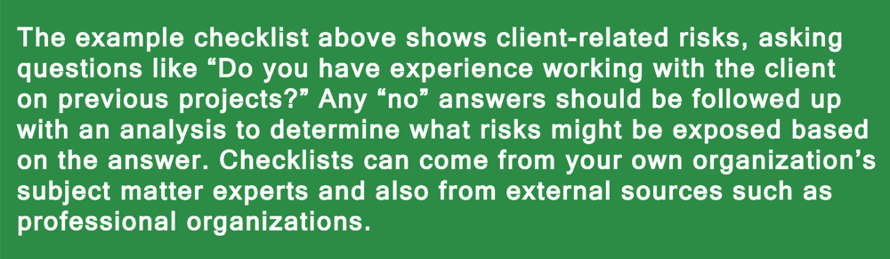Example checklist with client-related risks