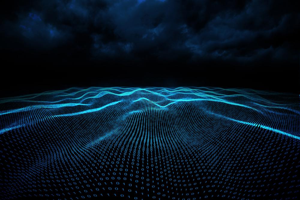 Digitally generated binary code landscape on black background